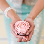 Piped buttercream rose in pink - lavish dulhan
